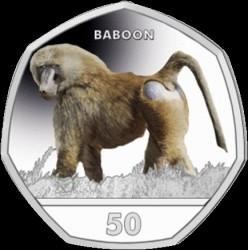 Pièce > 50pence, 2018 - Gibraltar  (Primate - Yellow Baboon (Papio cynocephalus)) - reverse