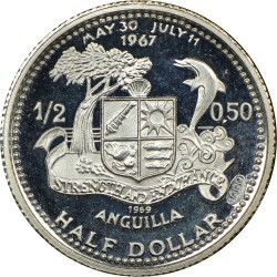 Coin > ½dollar, 1969-1970 - Anguilla  - reverse
