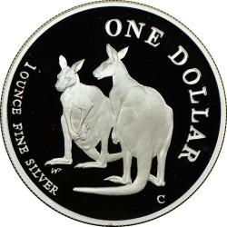 Moneta > 1doleris, 1999 - Australija  (Pair of Kangaroos) - reverse