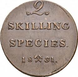 Монета > 2скиллинга, 1822-1834 - Норвегия  - reverse