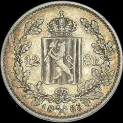 Moneda > 12skilling, 1865 - Noruega  - reverse
