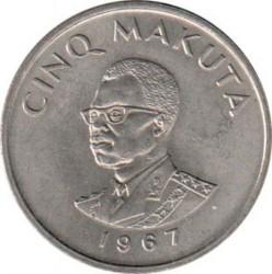 Մետաղադրամ > 5մակուտա, 1967 -  Կոնգոյի Դեմոկրատական Հանրապետություն  - obverse