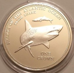 Münze > 1 Krone, 2015 - Tristan da Cunha  (Sharks Of The Atlantic Ocean - Tiger Shark) - reverse