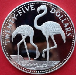 Coin > 25dollars, 1985 - Bahamas  (Flamingos) - obverse