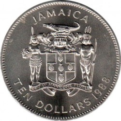 Moneda > 10dólares, 1988 - Jamaica  (El año del trabajador) - obverse
