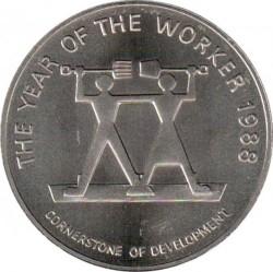 Moneda > 10dólares, 1988 - Jamaica  (El año del trabajador) - reverse