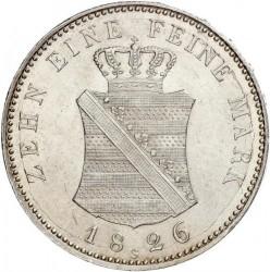 Moneta > 1tallero, 1824-1827 - Sassonia  (Solo testo di denominazione sul rovescio) - reverse