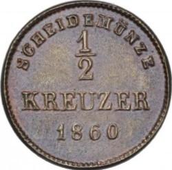 Кованица > ½крајцера, 1858-1864 - Virtemberg  - reverse