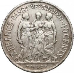 Monēta > 40centu, 1907 - Danish West Indies  - reverse