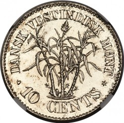 Monēta > 10 centu, 1878-1879 - Danish West Indies  - reverse
