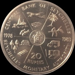Moneta > 20rupijų, 1983 - Seišėliai  (5th Anniversary - Seychelles Monetary Authority) - reverse