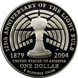 Монета > 1доллар, 2004 - США  (125 лет лампочке) - reverse