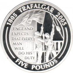 """錢幣 > 5鎊, 2005 - 直布羅陀  (200th Anniversary - Battle of Trafalgar /""""England Expects..."""") - reverse"""