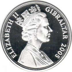 Moneta > 5sterline, 2005 - Gibilterra  (200° anniversario - Battaglia di Trafalgar/Nelson con gli ufficiali) - obverse