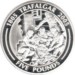 Moneta > 5sterline, 2005 - Gibilterra  (200° anniversario - Battaglia di Trafalgar/Nelson con gli ufficiali) - reverse