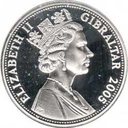Moneta > 5sterline, 2005 - Gibilterra  (200° anniversario - Battaglia di Trafalgar/colonna di Nelson a Trafalgar Square) - obverse