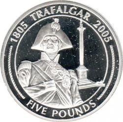 Moneta > 5sterline, 2005 - Gibilterra  (200° anniversario - Battaglia di Trafalgar/colonna di Nelson a Trafalgar Square) - reverse