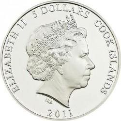 Moneta > 5dolarów, 2011 - Wyspy Cooka  (Kaa) - obverse