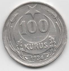 Moneta > 100kurušų, 1934 - Turkija  - reverse