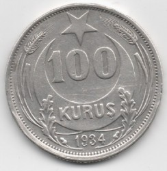 Монета > 100курушів, 1934 - Туреччина  - reverse