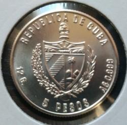Coin > 5pesos, 1984 - Cuba  (Shipbuilding in Cuba - Santisima Trinidad) - obverse