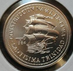 Coin > 5pesos, 1984 - Cuba  (Shipbuilding in Cuba - Santisima Trinidad) - reverse