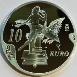 "Coin > 10euro, 2004 - Spain  (100th Anniversary - Birth of Salvador Dalí. Picture ""Leda Atómica"") - reverse"