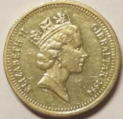 Moneta > 1sterlina, 1994 - Gibilterra  (40° anniversario - Prima visita reale della regina Elisabetta II) - obverse