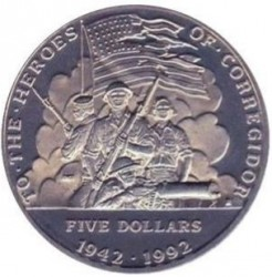 Münze > 5Dollar, 1992 - Marshall Inseln   (Military Heroes - To the Heroes of Corregidor) - obverse