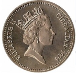 Moneta > 5sterline, 1994 - Gibilterra  (50° anniversario - Sbarco in Normandia) - obverse