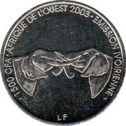 Moneta > 1500frankų, 2003 - Dramblio Kaulo Krantas  (African bush elephant) - obverse