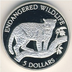 Moneta > 5dollari, 1992 - Niue  (Fauna in via di estinzione - Giaguaro) - obverse