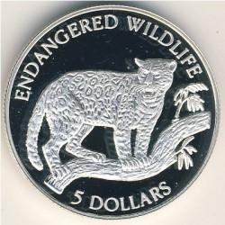Moneta > 5dollari, 1992 - Niue  (Fauna in via di estinzione - Giaguaro) - reverse