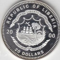 Moneda > 20dólares, 2000 - Liberia  (European Landmarks - Athens) - obverse