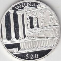 Moneda > 20dólares, 2000 - Liberia  (European Landmarks - Athens) - reverse