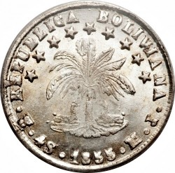 Coin > 4 soles, 1853-1859 - Bolivia  - reverse