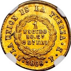 Monēta > 1scudo, 1868 - Bolīvija  - reverse