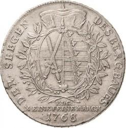 "Moneta > 1tallero, 1768 - Sassonia  (Fed. Augustus III, lettering: ""DER SEEGEN..."") - reverse"