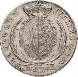 "Moneta > 1tallero, 1791-1793 - Sassonia  (Lettering: ""DER SEEGEN DES BERGBAUS"" sul rovescio) - reverse"