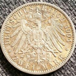Moneda > 2marcos, 1904 - Alemán (Imperio)  (Boda del Duque Friedrich Franz IV) - reverse
