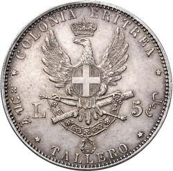 Moneta > 5lirów, 1891-1896 - Erytrea Włoska  - reverse
