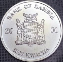מטבע > 5000מקוואצ'ה, 2001 - זמביה  (African Wildlife - Elephant) - obverse