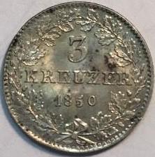 Moneta > 3kreuzer, 1846-1856 - Francoforte  - reverse