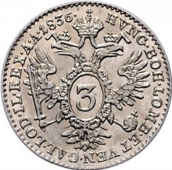 Монета > 3кройцера, 1835-1836 - Австрия  - reverse