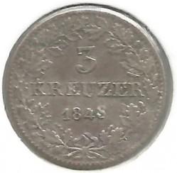 Νόμισμα > 3Κρέουζερ, 1846-1856 - Frankfurt  - reverse