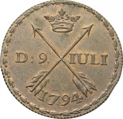 Moneta > ½skilingo, 1794 - Švedija  - reverse