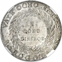 Coin > 8reals, 1839-1846 - Colombia  - reverse