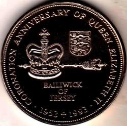 Moneda > 2libras, 1993 - Jersey  (40 aniversario - Coronación de la Reina Elisabeth II) - reverse