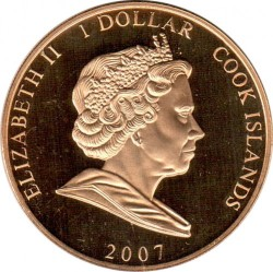 Münze > 1 Dollar, 2007 - Cook Islands  (60th Anniversary - Wedding of Elizabeth II and Prince Philip /Philip with crook/) - obverse