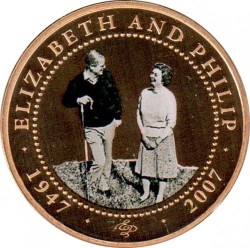 Münze > 1 Dollar, 2007 - Cook Islands  (60th Anniversary - Wedding of Elizabeth II and Prince Philip /Philip with crook/) - reverse